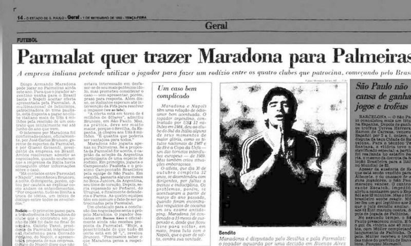 Maradona no Palmeiras Foto: Reprodução