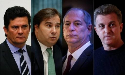 Sergio Moro, Rodrigo Maia, Ciro Gomes e Luciano Huck se movimentam para driblar a polarização em 2022 Foto: Arquivo O GLOBO