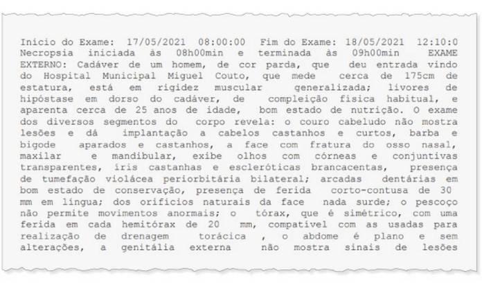 Trecho do laudo do corpo de MC Kevin sobre as fraturas sofridas Foto: Editoria de arte