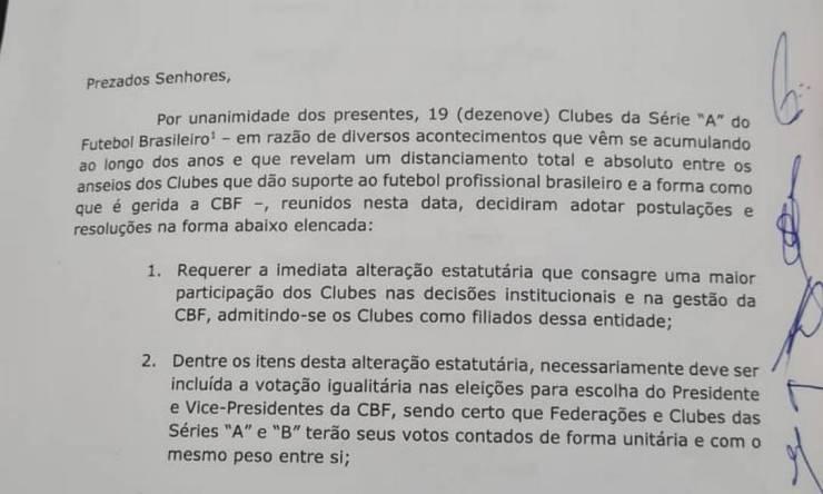 Documento assinado pelos clubes Foto: Reprodução / Reprodução