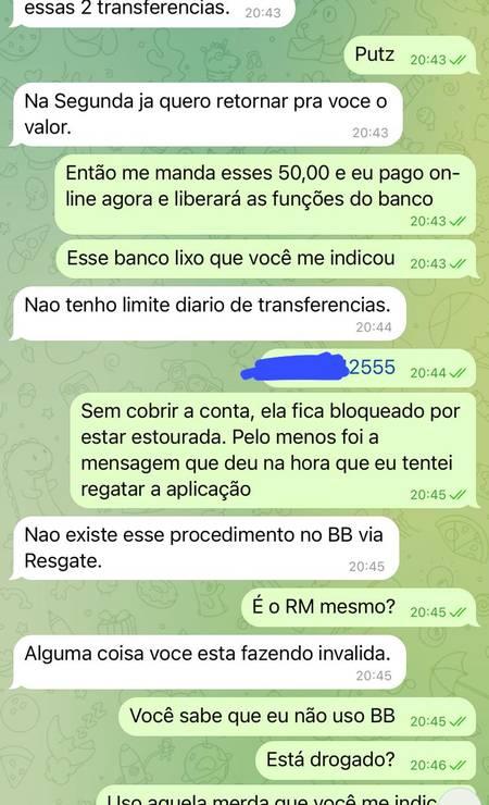 Print de conversa de Luis Miranda com golpista que se passava por Rodrigo Maia Foto: Reprodução
