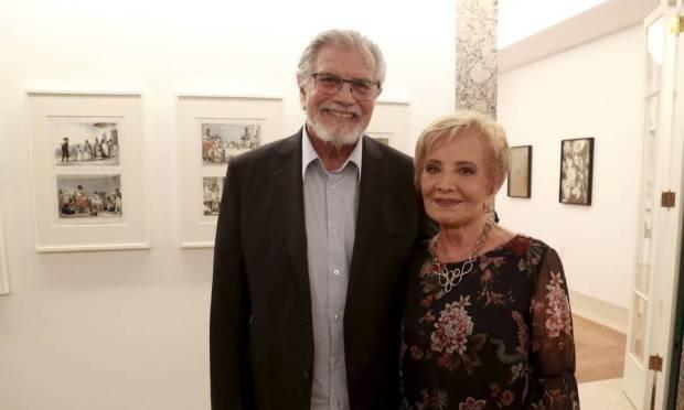 Tarcísio Meira and Glória Menezes at the inauguration of the museum at Roberto Marinho's house in April 2018 Photo: Marcos Ramos / Agência O Globo