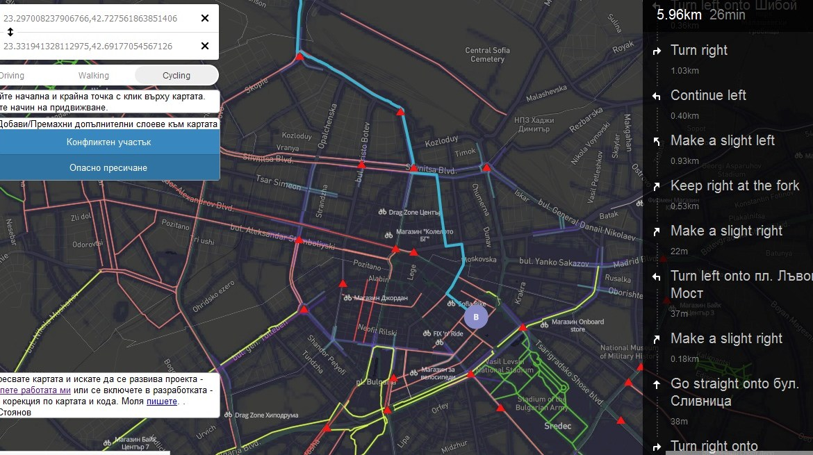 Cycling route planer Sofia
