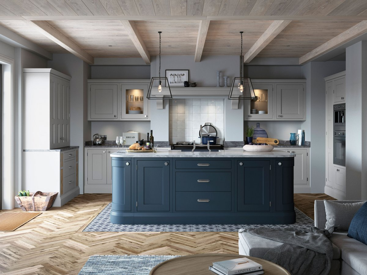 Blue and Grey inframe shaker kitchen