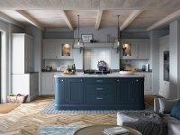 Blue and Grey inframe shaker kitchen | OG Kitchens