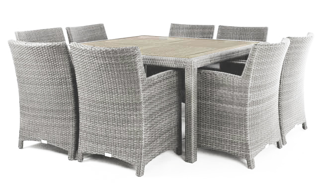 nico stone 8 place square patio dining table with synthetic teak wood composite top ogni