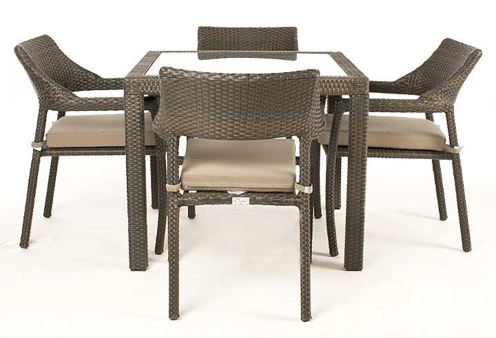 Table De Jardin Nico 4 Places Avec Surface En Verre Ogni