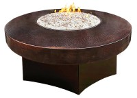 Gas fire pit with hammered copper table top
