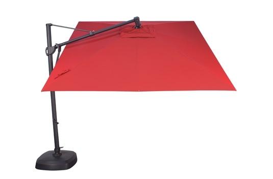 Square red patio umbrella in 10 x 10 foot size  Ogni