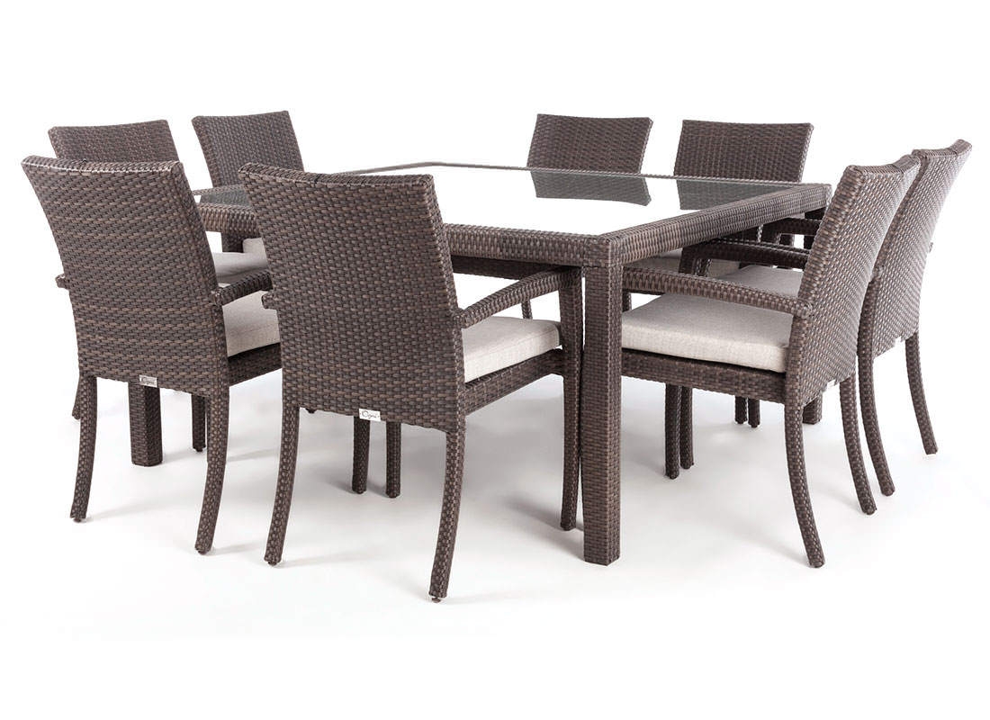 Nico square glass top patio dining table for 8 people  Ogni