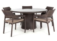 Delia round glass top outdoor patio dining table for 5 to ...