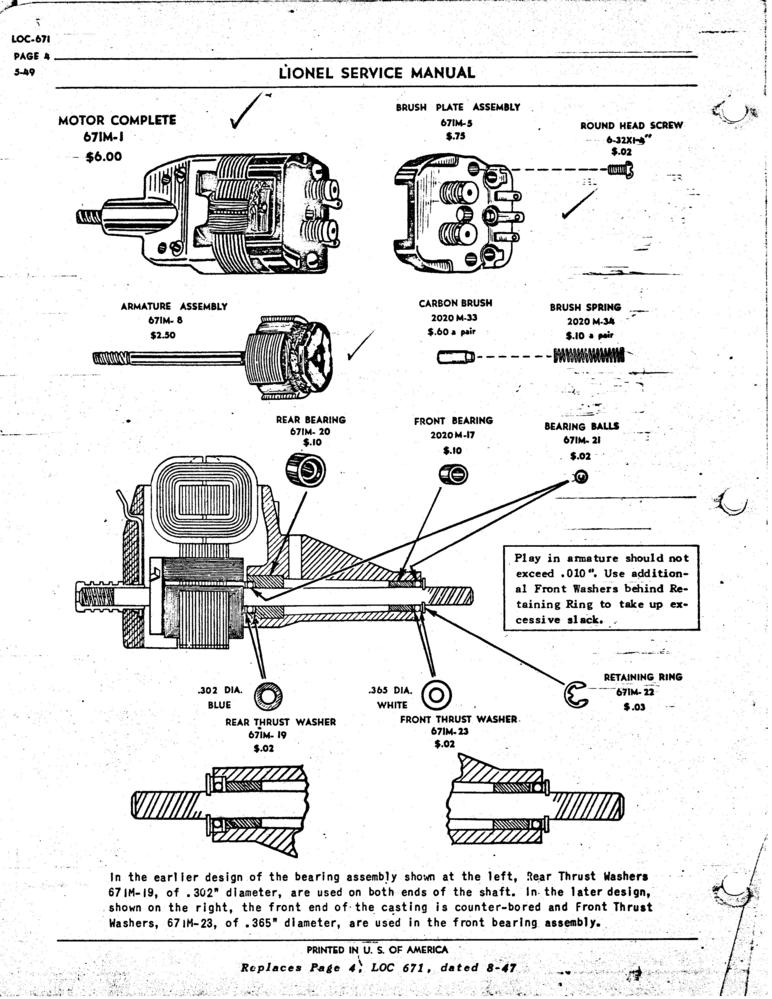 American Flyer Locomotive Wiring Diagrams Lionel 671 Motor Repair Parts O Gauge Railroading On