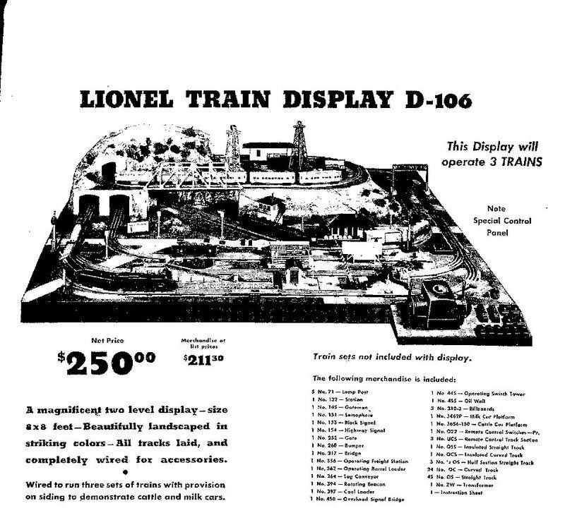 Lionel Dealer Display Layouts, Factory Layouts and Postwar