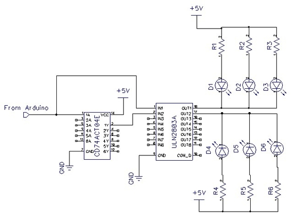 Circuit using inverter and transistors to control LEDs