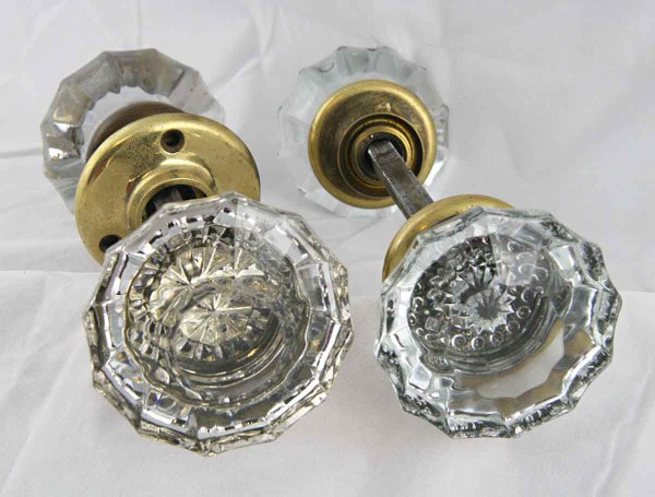 Antique Extra Large Fluted Glass Door Knob Set With Rosettes Olde Good