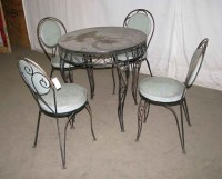Wrought Iron & Glass Patio Table Set | Olde Good Things