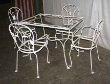 Salterini Wrought Iron Patio Table & Chairs Olde Good