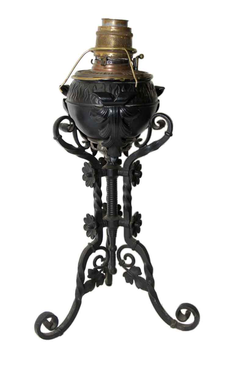 19th Century B Amp H Ornate Wrought Iron Oil Lantern On Stand