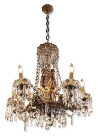 Empire Style Bronze and Crystal Figural Chandelier