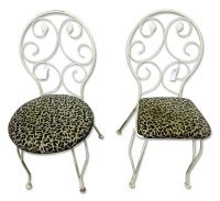 White Iron Chairs with Leopard Seats | Olde Good Things