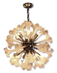 Mid Century Frosted Glass Floral Sputnik Light | Olde Good ...