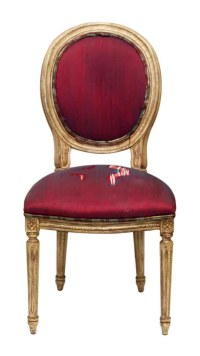 Worn Upholstered Wood Frame Chair with Federal Style Legs ...
