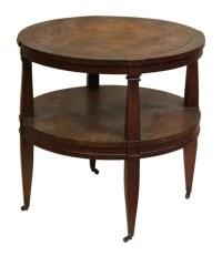 Round Wood Coffee Table on Wheels   Olde Good Things