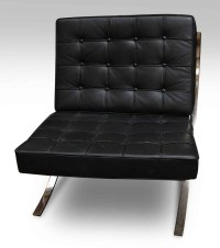 Black Leather Barcelona Style Chair | Olde Good Things