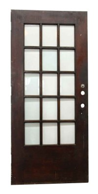 15 Beveled Glass Panel Dark Wood Door | Olde Good Things