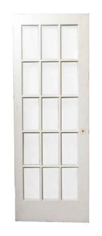 Single 15 Glass Pane White Wood Door | Olde Good Things