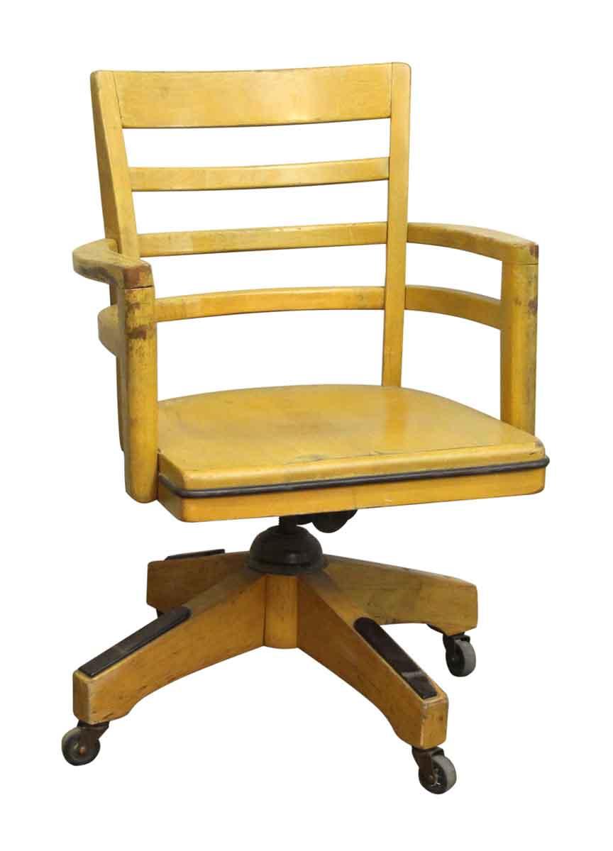 Wood Swivel Chair with Wheels  Olde Good Things