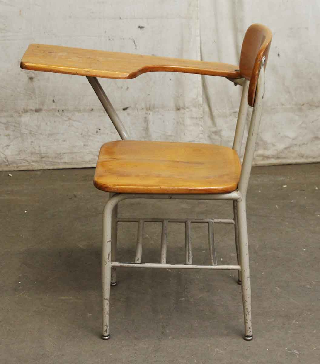 chair attached table wood restaurant chairs salvaged school with desk olde good things