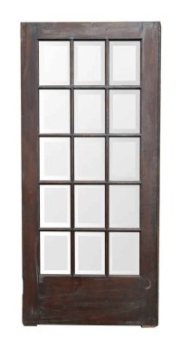 Dark Wood Door with 15 Beveled Glass Panels | Olde Good Things