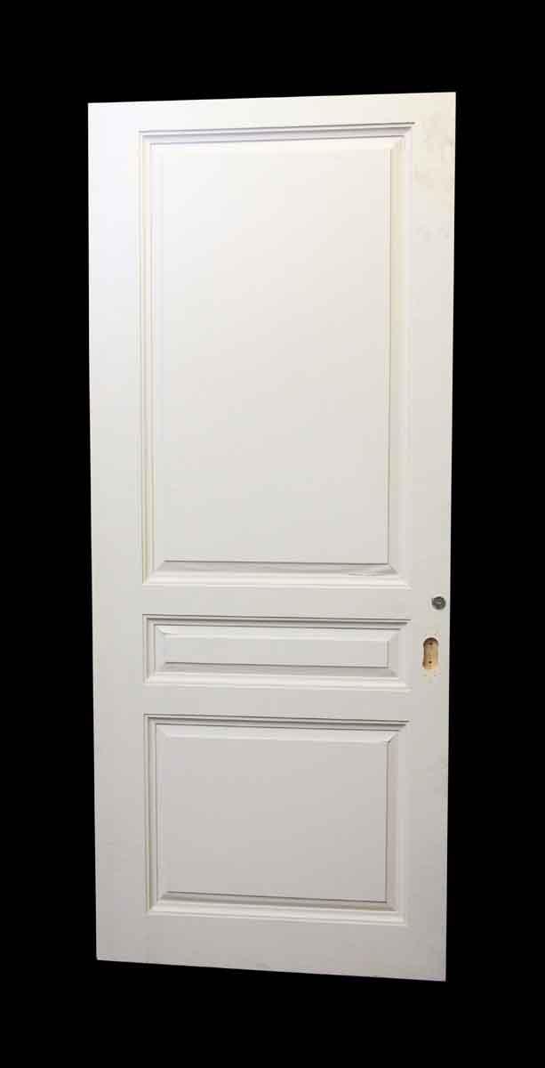 Wide White Three Panel Wood Door Olde Good Things