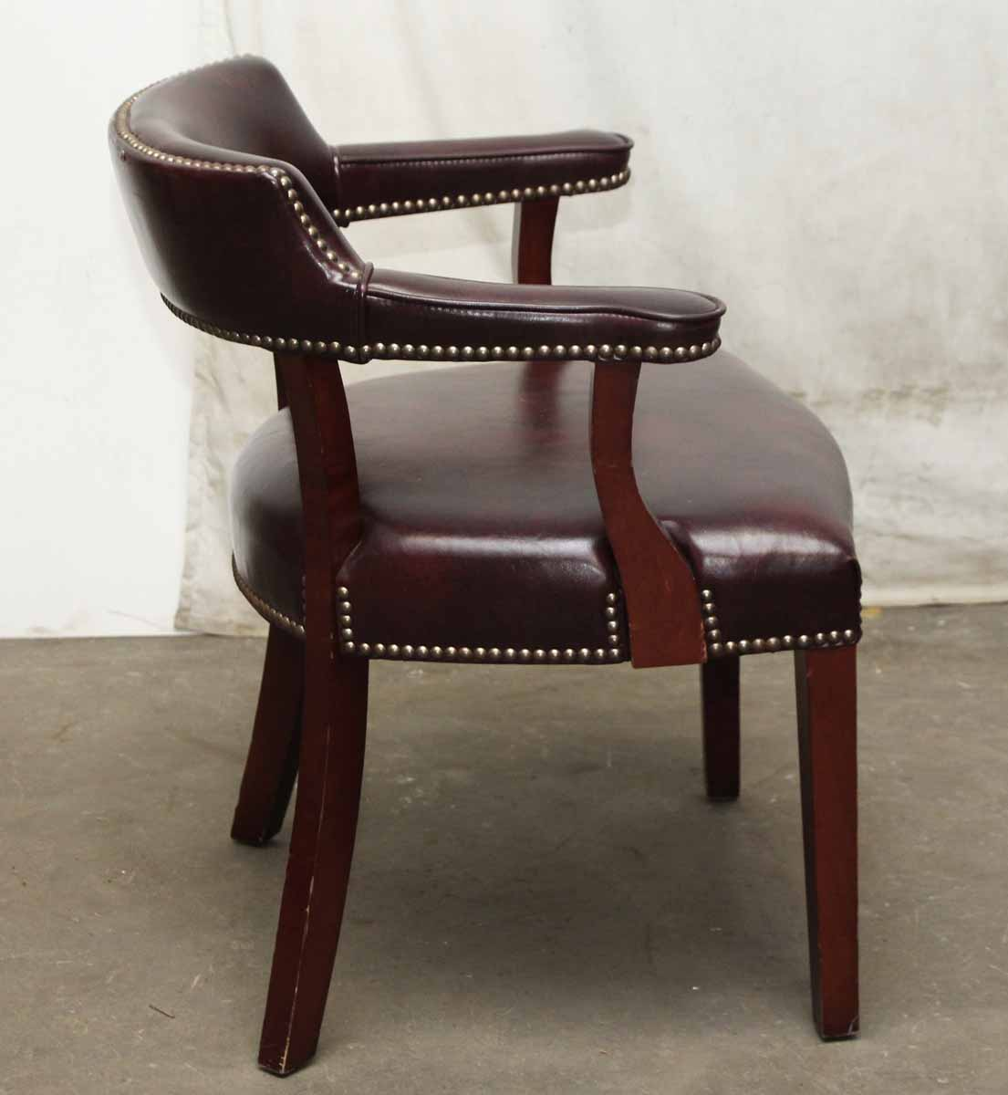 studded dining room chairs swing chair photos set of six burgundy leather olde good things