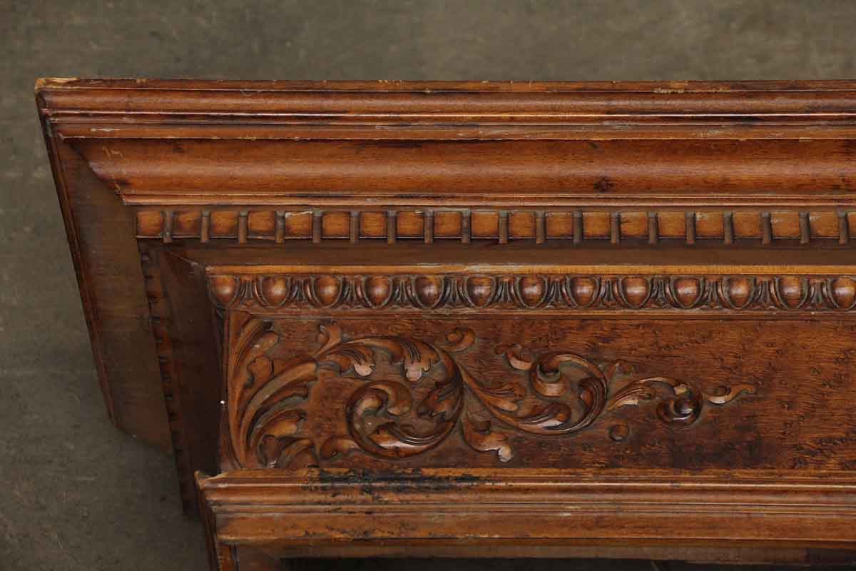 Carved Maple Mantel Shelf With Burled Maple Front Olde