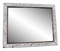 Large Etched Rectangular Wall Mirror