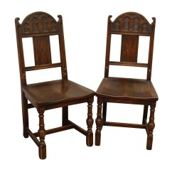 Vintage Wooden Chairs Rubber Wood Dining Pair Of Gothic Olde Good Things