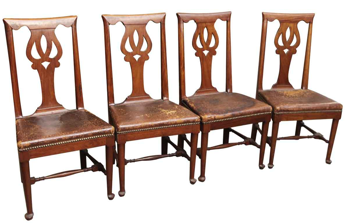Studded Dining Chairs Set Of Eight Leather Studded Dining Chairs
