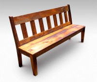 Farm Table Slatted Bench with Back   Olde Good Things