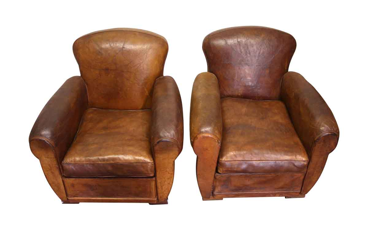 Refurbished Chairs Pair Of Refurbished Brown Leather Club Chairs Olde Good Things