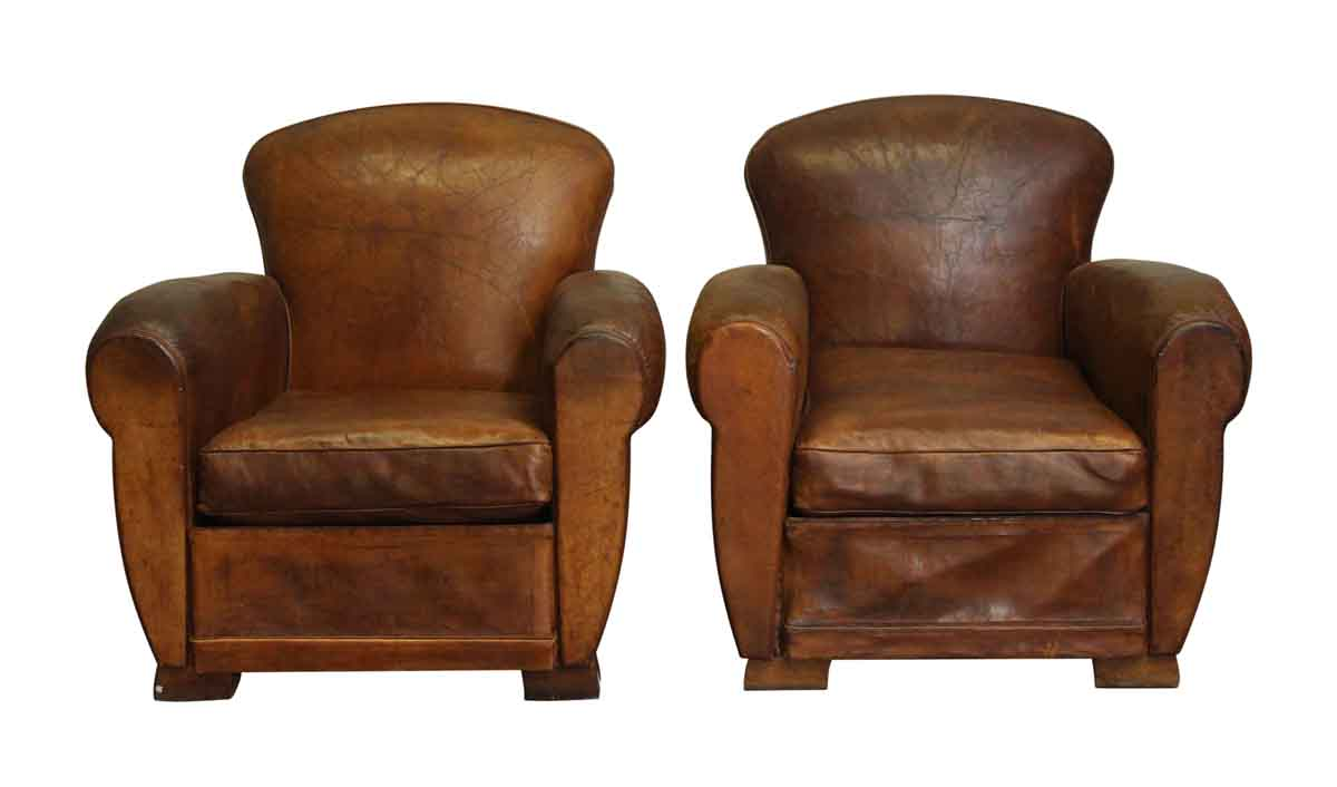 Refurbished Chairs Pair Of Refurbished Brown Leather Club Chairs