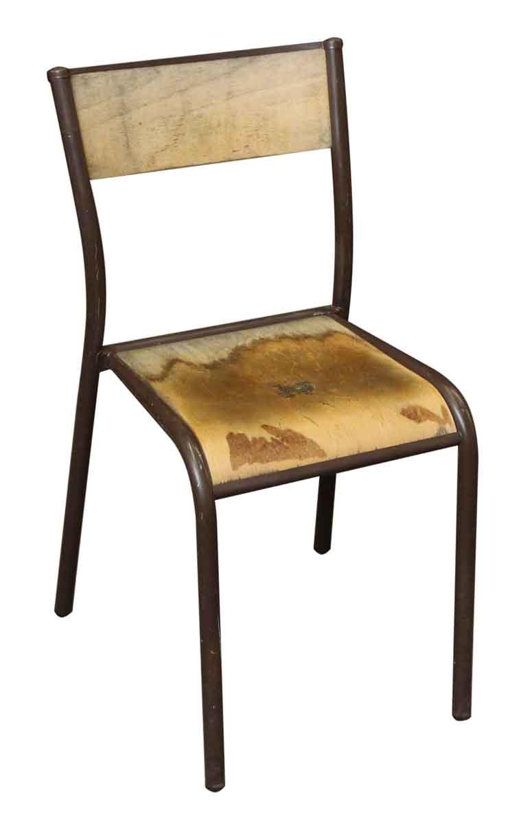 Vintage Brown Metal Wooden School Chair  Olde Good Things