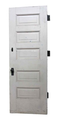 Antique White Wooden 5 Panel Interior Door | Olde Good Things