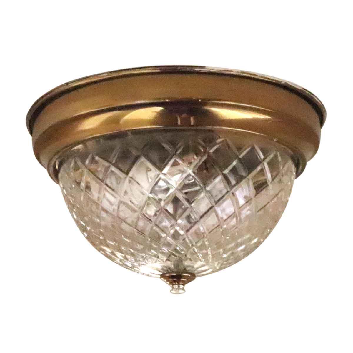 Salvaged Waldorf Cut Crystal Flush Mount Light