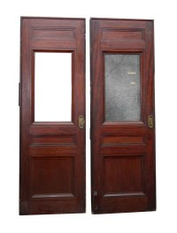 Old Pocket Door with Textured Glass Panel | Olde Good Things