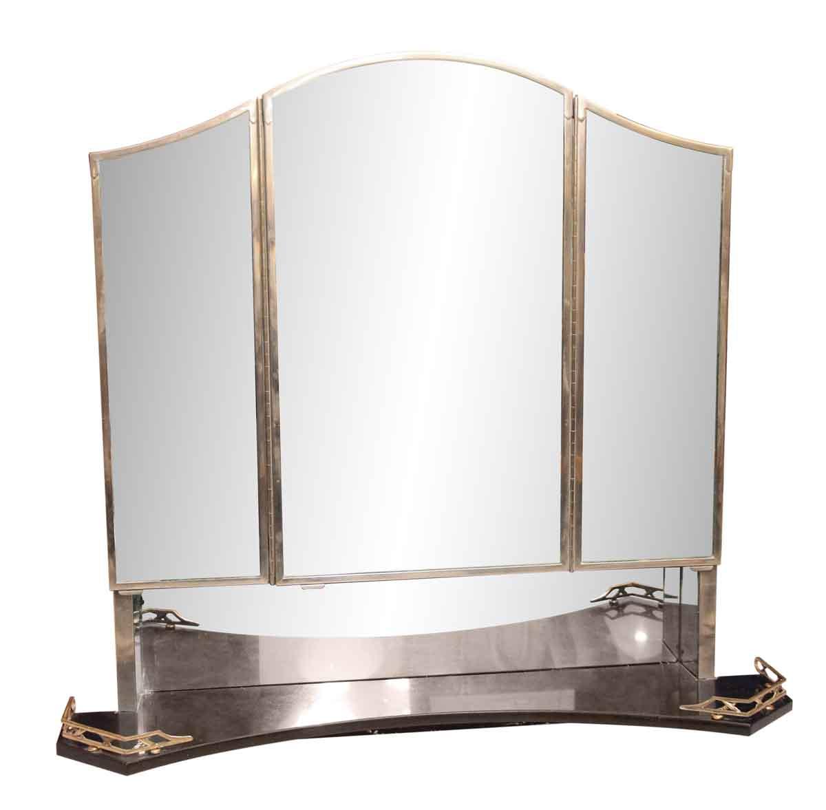 Art Deco Medicine Cabinet with Triple Mirror  Black
