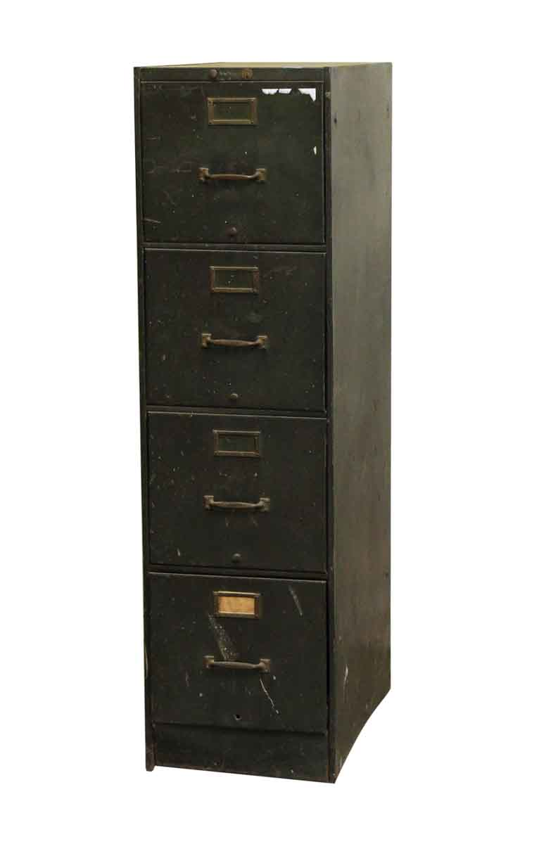 Reclaimed Four Drawer Metal Green Filing Cabinet  Olde