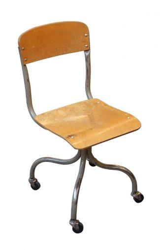 wood office chair for child s desk salvaged furniture olde good things wheeled metal