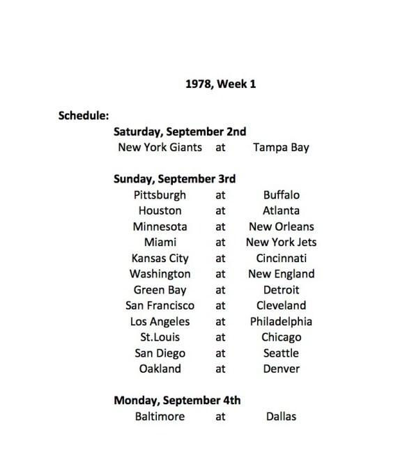1978 Week 1 Schedule